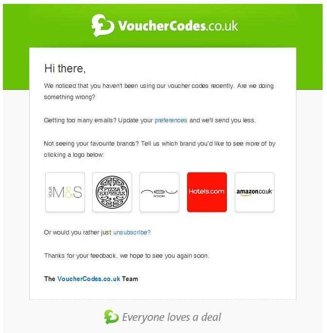 Reengagement email marketing from Discount Voucher industry