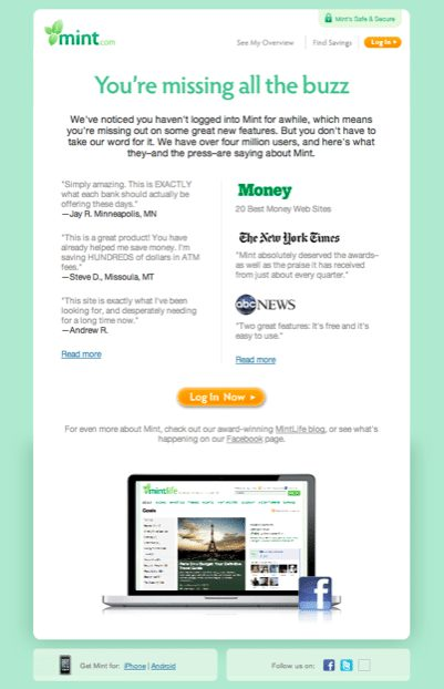 Reengagement email marketing from Finance industry
