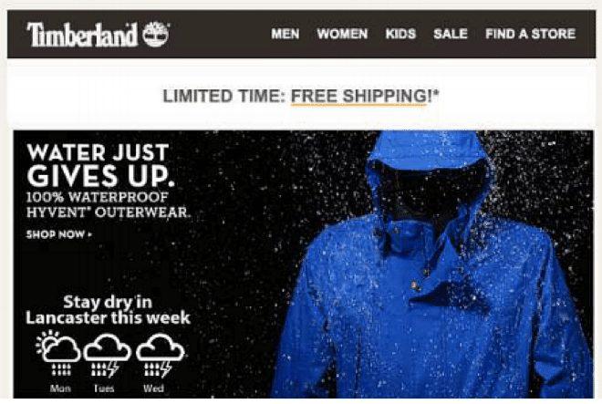 Website personalisation tactics include weather forecasts